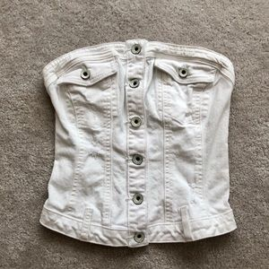 Guess White Denim Strapless Buttons Crop bustier